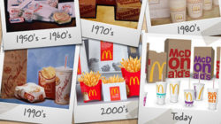 Packaging design over decades: every three to four years the fast-food chain changes the look and feel of its packaging.