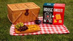 Picnic basket and wine on grass