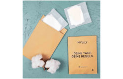 MYLILY pad packaging with the label 'YOUR PERIOD: YOUR RULES'